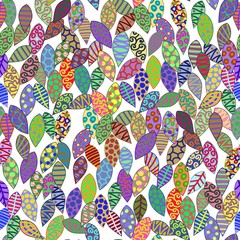 Bright seamless pattern with unusual leaves. Vector illustration