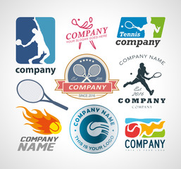 Vector set tennis logo design elements. EPS 10, AI 10