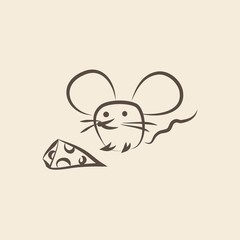 Mouse with cheese. Doodle. Vector illustration