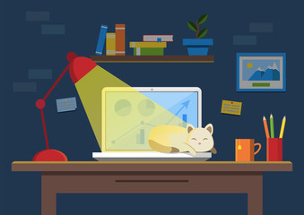 Flat design vector illustration of modern office interior. Creative office workspace with computer, sleeping cat, notes, folders, books, plants, mug. Flat minimalistic style and color
