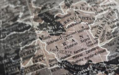 Iran map on vintage crack paper background