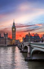 Photo sur Plexiglas Londres Sonnenuntergang über dem Big Ben in London