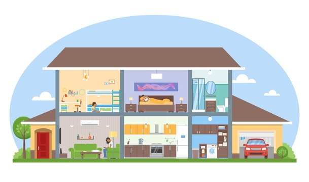 Home interior with room furniture vector illustration. Detailed modern house in flat style