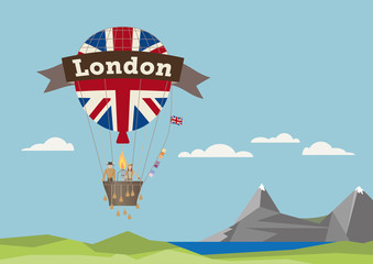 Air Balloon with adventures and London banner