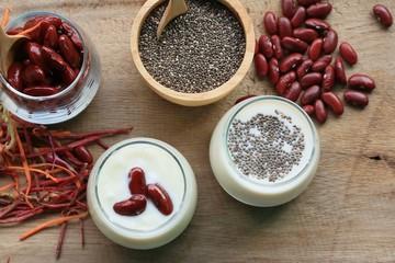 yogurt red bean with milk