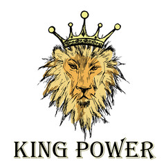 Lion with a crown and an inscription king power