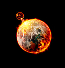 global warming over color, isolated image - Elements of this image furnished by NASA