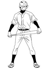 Baseball player ready to game,illustration,logo,ink,black and white,outline,isolated on a white
