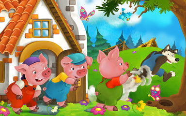 Pigs watching - bad wolf escaping with his back on fire - illustration for children