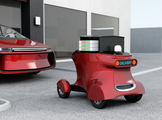 Autonomous delivery robot in front of the garage waiting for picking pizza. 3D rendering image in original design.