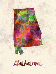 Alabama US state in watercolor