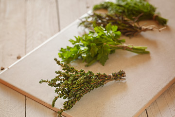 Assorted herbs, parsley, rosemary, dill,  and fresh thyme on white background