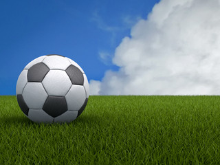 Football or Soccer Ball on a Green Grass with Blue Sky Backgroun