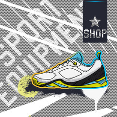 Sports Equipment Shop background with a sketch of sports shoes