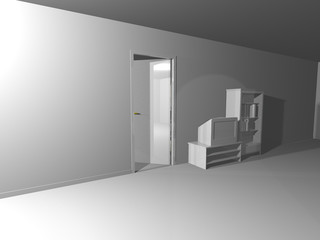 White Interior Render