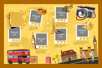 Template guide of travel.International travel.The rating for the attractions on the international travel for landmark.Popular tourist destinations in the world.World Travel.Graphic and EPS 10.