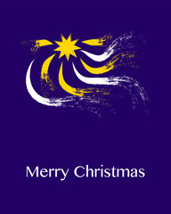 Star and light rays in night sky with Christmas greeting