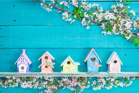 Row of colorful birdhouses on shelf with spring blossoms border