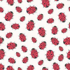 Cute ladybirds seamless pattern. Vector Print for kids textile, wrapping or wallpaper design