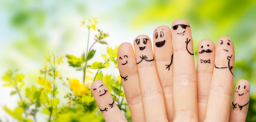 close up of hands and fingers with smiley faces Wall mural