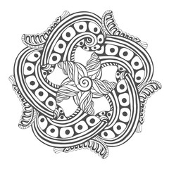 Mandala for coloring book pages. Vector ornament pattern tattoo design