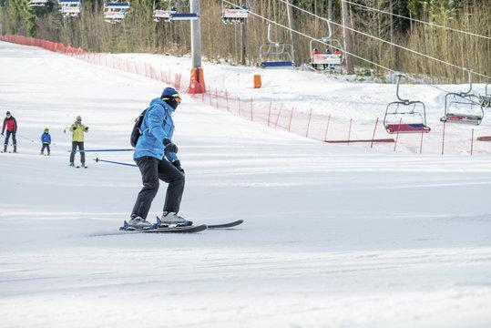 Male skier on mountain