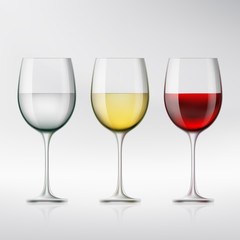 Set of glasses with red and white wine and water. Stock vector i
