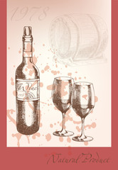 Beautiful vector illustration on the theme of wine