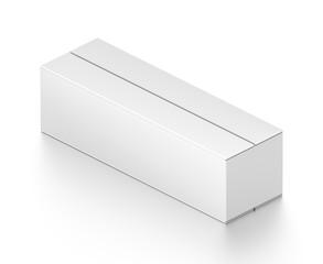 Isometric white wide rectangle blank box isolated on white background.