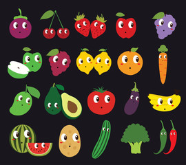 Set of Fruits and Vegetables Isolated Vector. Illustration. Cute Cartoon.