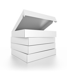 Closeup group of white blank pizza boxes isolated on white background.