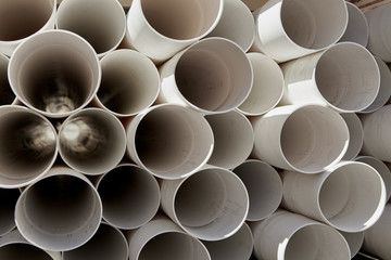 PVC plastic pipe stacked pattern closeup