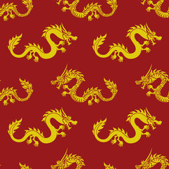 Yellow dragons on a red background