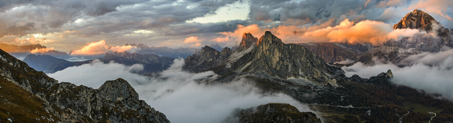 Panorama sunset mountains in Dolomite