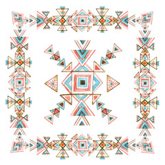 Watercolor tribal frame with ornate geometrical elements isolated on white background.