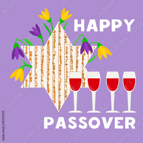 happy passover poster, card. matzah bread, wine for passover, pesach