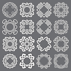 Set of ornamental round frames. Sixteen quadrangular decorative elements with stripes braiding for your logo or monogram design. Mandalas collection of white lines with black strokes.