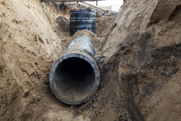 sewer pipe in the trench