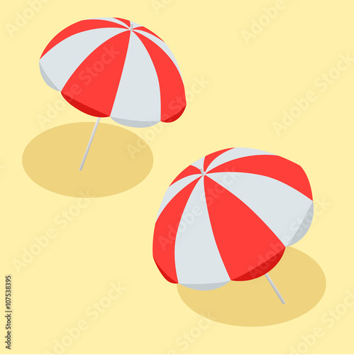 1f64214c81 Vector illustration Beach Umbrella Red and White. The symbol of a ...