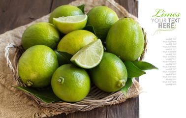Fresh limes in a basket