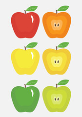 Illustration of colored apples on white background