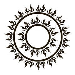 Ethnic fire sun swirl round ornament vector image.