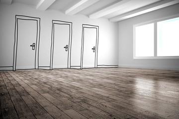 Doodle doors in room