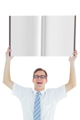 Nerd showing a book