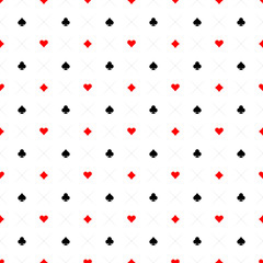 Playing cards signs casino seamless pattern background. Black, r