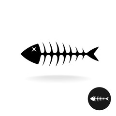Fish bones simple black flat silhouette logo