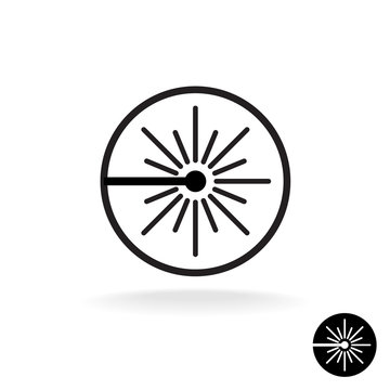 Laser black icon. Laser beam flash sparks linear symbol in a cir