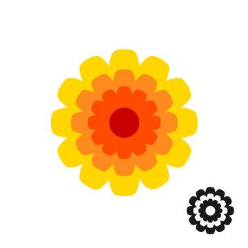 Marigold calendula flower top view logo. Black version included.
