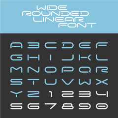 Wide rounded outline sport techno font. Letters with numbers.