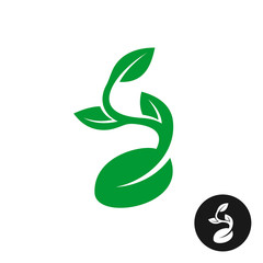 Sprout logo. One shape style plant with seed and green leaves ve